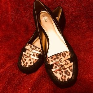 Leopard print and black loafers